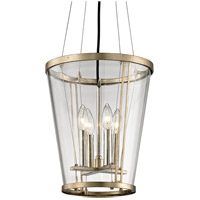 Trapeze 4 Light 12 inch Champagne Silver Leaf Pendant Ceiling Light, Clear Blown Glass