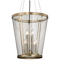 Trapeze 8 Light 18 inch Champagne Silver Leaf Pendant Ceiling Light, Clear Blown Glass