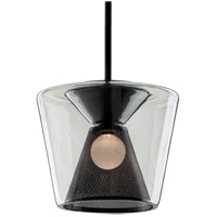 Berlin LED 16 inch Gun Metal Pendant Ceiling Light, Clear Glass