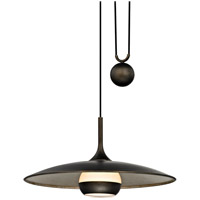Troy Lighting F5865 Alchemy LED 24 inch Vintage Bronze and Champagne Silver Leaf Pendant Ceiling Light, Opal White Glass