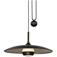 Troy Lighting F5866 Alchemy LED 30 inch Vintage Bronze and Champagne Silver Leaf Pendant Ceiling Light, Opal White Glass