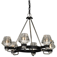 Faction 6 Light 28 inch Forged Iron and Polished Nickel Chandelier Ceiling Light, Clear Pressed Glass
