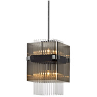 Apollo 2 Light 11 inch Dark Bronze and Polished Chrome Mini Pendant Ceiling Light, Smoked and Clear Glass