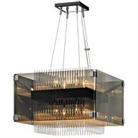 Apollo 8 Light 21 inch Dark Bronze and Polished Chrome Chandelier Ceiling Light, Smoked and Clear Glass