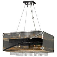 Apollo 8 Light 27 inch Dark Bronze and Polished Chrome Chandelier Ceiling Light, Smoked and Clear Glass