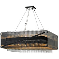 Troy Lighting F5907 Apollo 16 Light 35 inch Dark Bronze and Polished Chrome Chandelier Ceiling Light, Smoked and Clear Glass