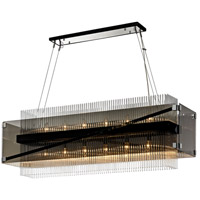 Apollo 12 Light 50 inch Dark Bronze and Polished Chrome Chandelier Ceiling Light, Smoked and Clear Glass