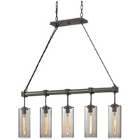 Union Square 5 Light 42 inch Graphite Pendant Ceiling Light, Smoke Glass