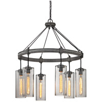 Union Square 6 Light 31 inch Graphite Pendant Ceiling Light, Smoke Glass