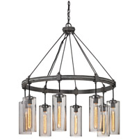 Union Square 8 Light 36 inch Graphite Pendant Ceiling Light, Smoke Glass