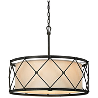 Palisade 6 Light 29 inch Aged Pewter Pendant Ceiling Light, Linen Hardback Shade