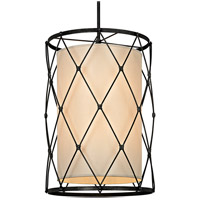 Palisade 8 Light 22 inch Aged Pewter Pendant Ceiling Light, Linen Hardback Shade