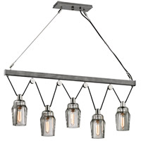 Citizen 5 Light 45 inch Graphite and Polished Nickel Pendant Ceiling Light, Clear Pressed Glass