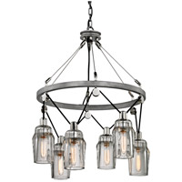 Citizen 6 Light 25 inch Graphite and Polished Nickel Pendant Ceiling Light, Clear Pressed Glass