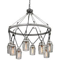 Citizen 8 Light 34 inch Graphite and Polished Nickel Pendant Ceiling Light, Clear Pressed Glass