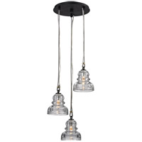 Menlo Park 3 Light 14 inch Deep Bronze Pendant Cluster Ceiling Light, Historic Clear Pressed Glass