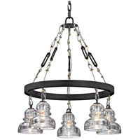 Menlo Park 5 Light 26 inch Deep Bronze Chandelier Ceiling Light, Historic Clear Pressed Glass