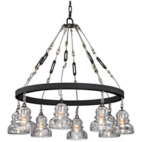 Troy Lighting F6056 Menlo Park 8 Light 33 inch Deep Bronze Chandelier Ceiling Light, Historic Clear Pressed Glass
