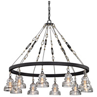 Troy Lighting F6057 Menlo Park 10 Light 43 inch Deep Bronze Chandelier Ceiling Light, Historic Clear Pressed Glass