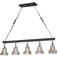 Menlo Park 5 Light 45 inch Deep Bronze Chandelier Ceiling Light, Historic Clear Pressed Glass