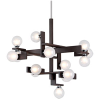 Network 15 Light 31 inch Forest Bronze and Polished Chrome Pendant Ceiling Light, Frosted Clear Glass