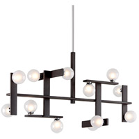 Troy Lighting F6075 Network 12 Light 46 inch Forest Bronze and Polished Chrome Pendant Ceiling Light, Frosted Clear Glass