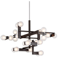 Network 24 Light 41 inch Forest Bronze and Polished Chrome Pendant Ceiling Light, Frosted Clear Glass