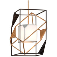 Troy Lighting F6085 Cubist 1 Light 18 inch Bronze and Gold Leaf and Polished Stainless Pendant Ceiling Light, White Acrylic Shade