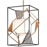Troy Lighting F6086 Cubist 1 Light 22 inch Bronze and Gold Leaf and Polished Stainless Pendant Ceiling Light, White Acrylic Shade