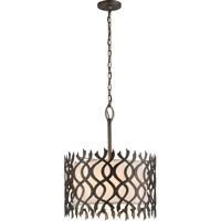 Troy Lighting F6107 Mai Tai 6 Light 25 inch Cottage Bronze Pendant Ceiling Light, Linen Hardback Shade