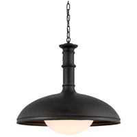 Troy Lighting F6126 Brewery 1 Light 26 inch Vintage Patina Bronze Pendant Ceiling Light, Gloss Opal Glass