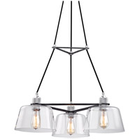 Troy Lighting F6153 Audiophile 3 Light 27 inch Old Silver and Polished Aluminum Chandelier Ceiling Light, Clear Glass