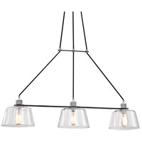 Audiophile 3 Light 43 inch Old Silver and Polished Aluminum Pendant Ceiling Light, Clear Glass