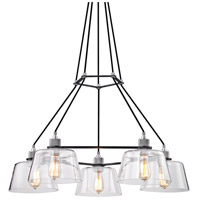 Audiophile 5 Light 36 inch Old Silver and Polished Aluminum Chandelier Ceiling Light, Clear Glass