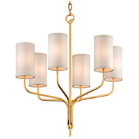 Juniper 6 Light 26 inch Textured Gold Leaf Chandelier Ceiling Light