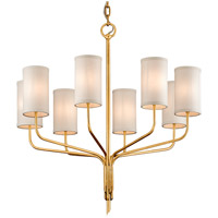 Juniper 8 Light 32 inch Textured Gold Leaf Chandelier Ceiling Light