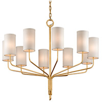 Juniper 10 Light 42 inch Textured Gold Leaf Chandelier Ceiling Light