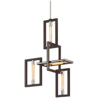 Enigma 4 Light 24 inch Bronze with Polished Stainless Pendant Ceiling Light