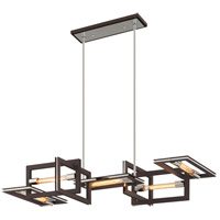 Troy Lighting F6185 Enigma 5 Light 44 inch Bronze with Polished Stainless Linear Pendant Ceiling Light