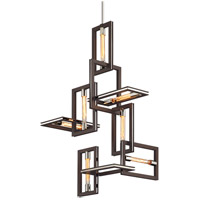 Troy Lighting F6187 Enigma 7 Light 25 inch Bronze with Polished Stainless Pendant Ceiling Light