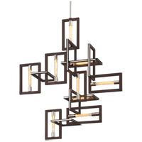 Troy Lighting F6189 Enigma 9 Light 31 inch Bronze with Polished Stainless Pendant Ceiling Light