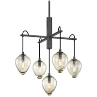 Troy Lighting F6206 Brixton 5 Light 26 inch Gunmetal with Smoked Chrome Pendant Ceiling Light