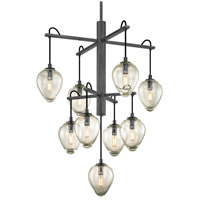 Troy Lighting F6207 Brixton 9 Light 30 inch Gunmetal with Smoked Chrome Pendant Ceiling Light