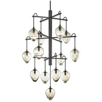 Troy Lighting F6208 Brixton 13 Light 36 inch Gunmetal with Smoked Chrome Pendant Ceiling Light
