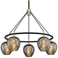 Troy Lighting F6215 Iliad 5 Light 35 inch Carbide Black with Polished Nickel Pendant Ceiling Light