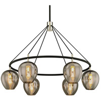 Iliad 6 Light 40 inch Carbide Black with Polished Nickel Pendant Ceiling Light