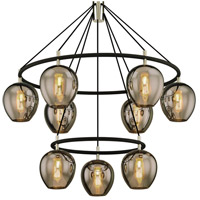 Troy Lighting F6219 Iliad 9 Light 40 inch Carbide Black with Polished Nickel Pendant Ceiling Light