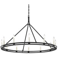 Sutton 12 Light 44 inch Textured Black Chandelier Ceiling Light