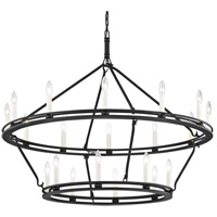 Sutton 20 Light 44 inch Textured Black Chandelier Ceiling Light
