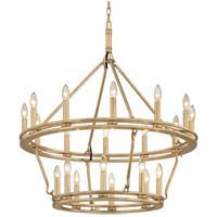 Sutton 20 Light 32 inch Champagne Silver Leaf Chandelier Ceiling Light